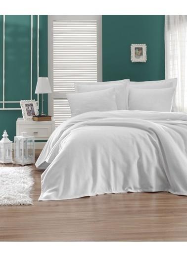 EnLora Home Enlora %100 Pamuk Casuel Pike Örtü Tek Kişilik Beyaz